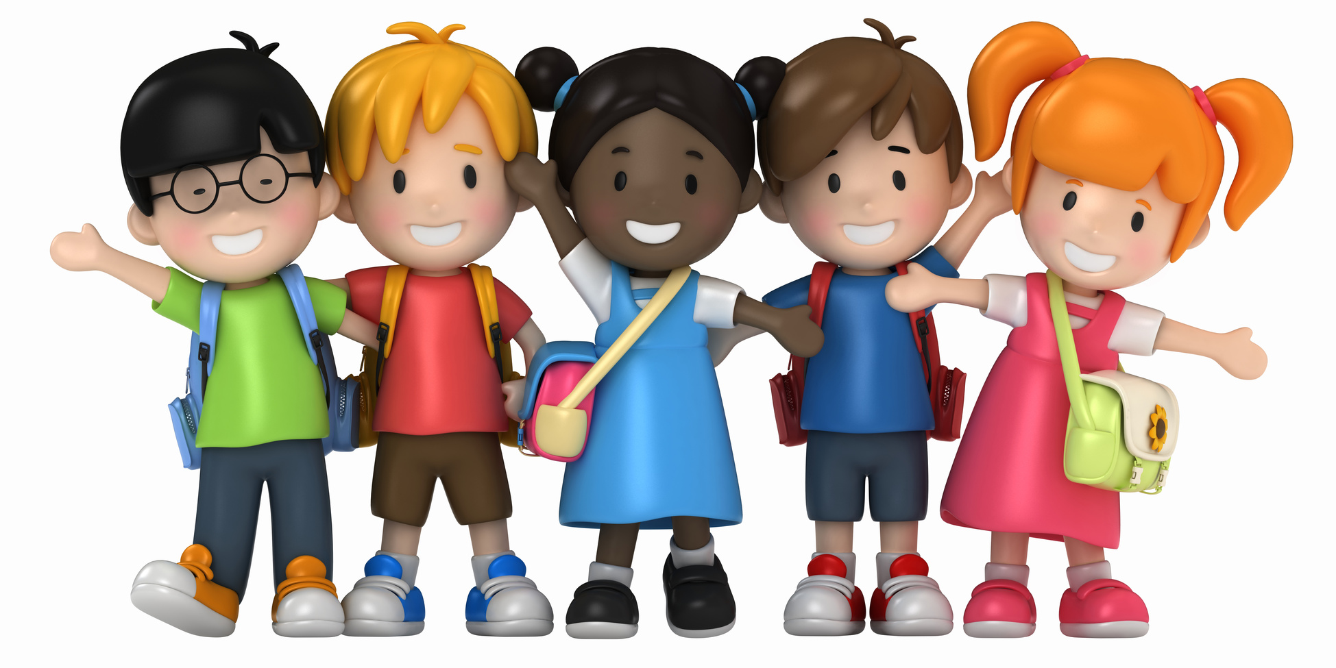 3D Render of School Kids