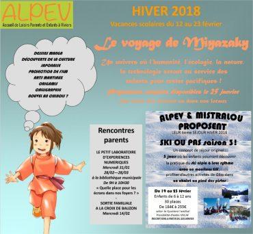 VACANCES d'HIVER du 12 au 23 février 2018